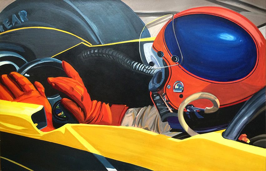 Pilote de F1- Illustration à la Gouache - Dominique Evangelisti