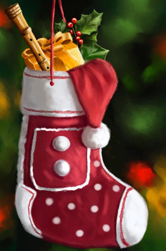 Illustration de Noël Dominique Evangelisti-Chaussette de Noël