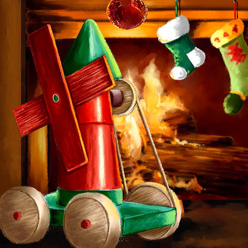 Illustration de Noël Dominique Evangelisti-Moulin jouet en bois