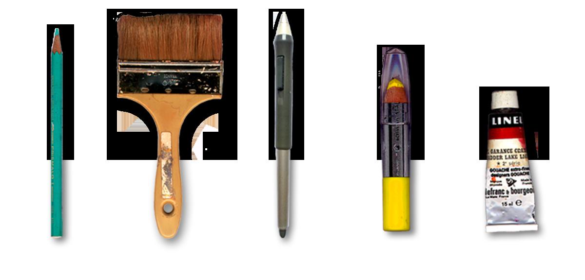 Accueil Dom Evangelisti palette de peintures et outils