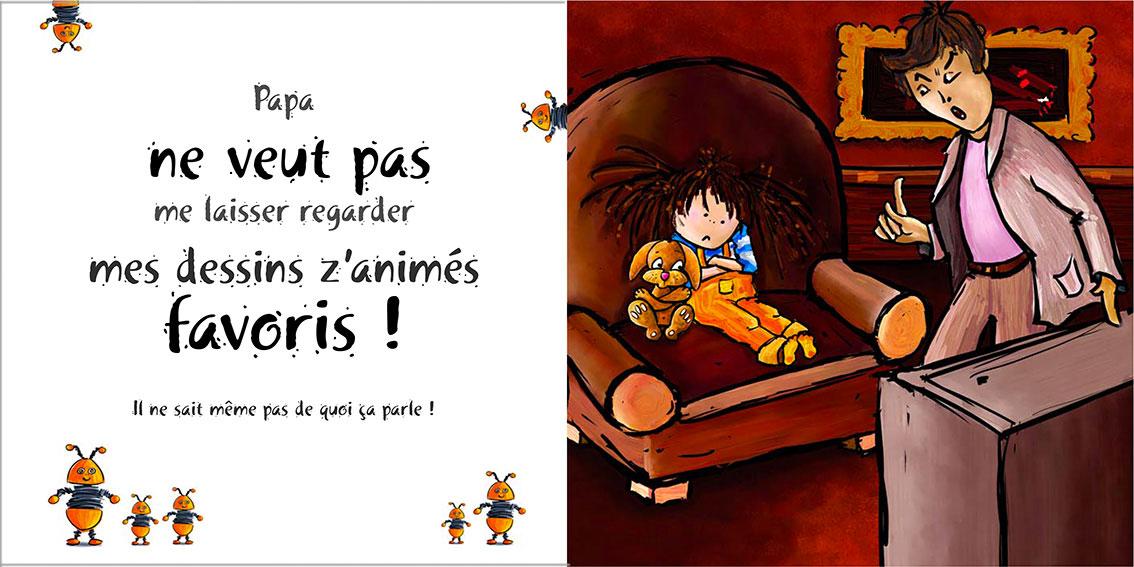 Album pour enfants Zoé-Dom Evangelisti : Papa télé
