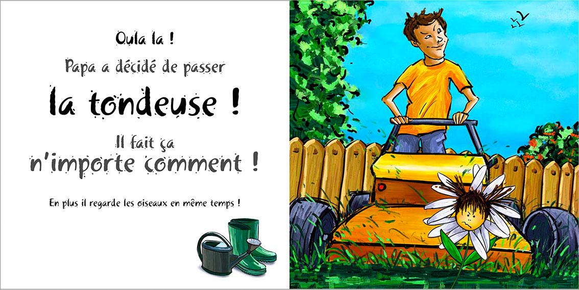Album pour enfants Zoé-Dom Evangelisti : Papa tondeuse