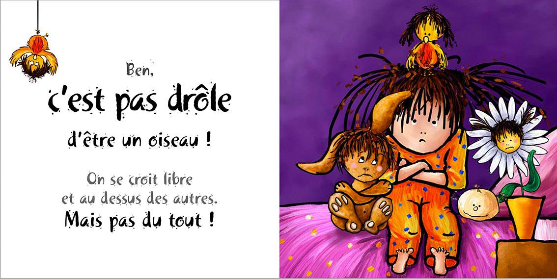 Album pour enfants Zoé-Dom Evangelisti : C'est pas drôle Oiseau