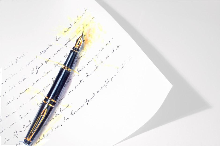 Page-écriture-stylo plume-illustration-encres-crayons-de-couleur