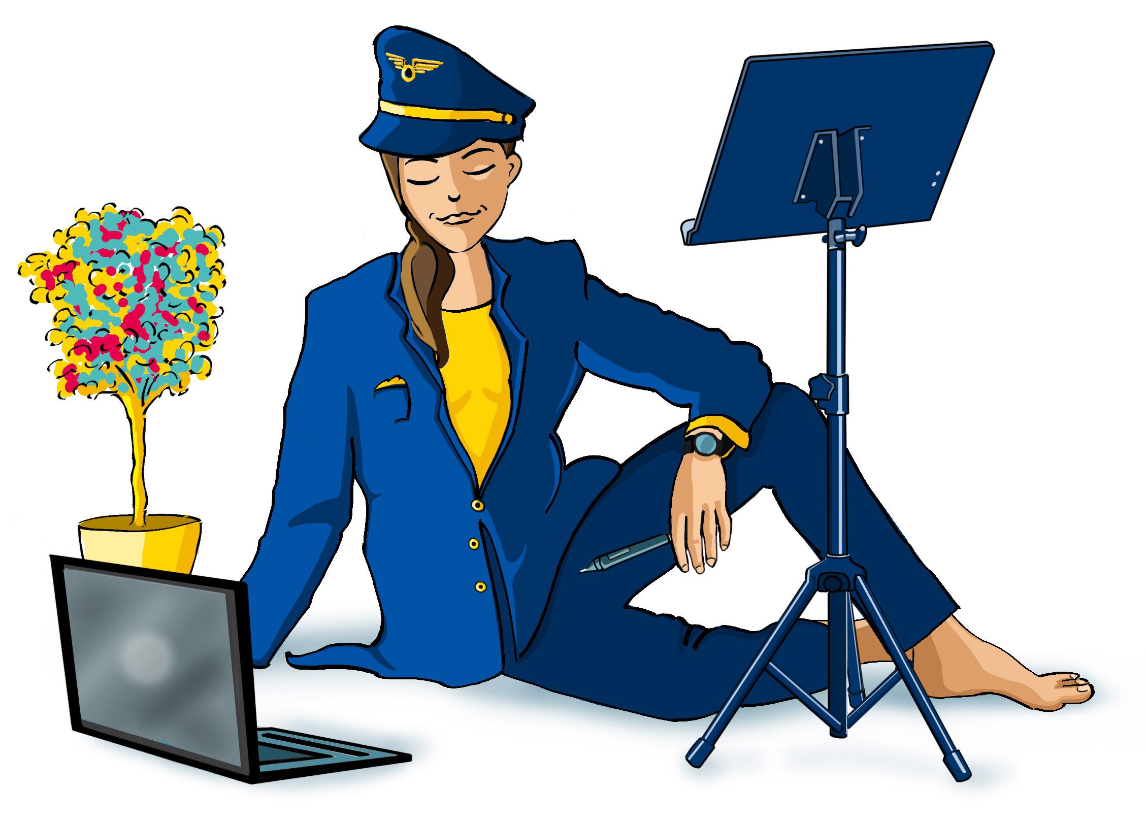 Illustration de personnage - Femme pilote