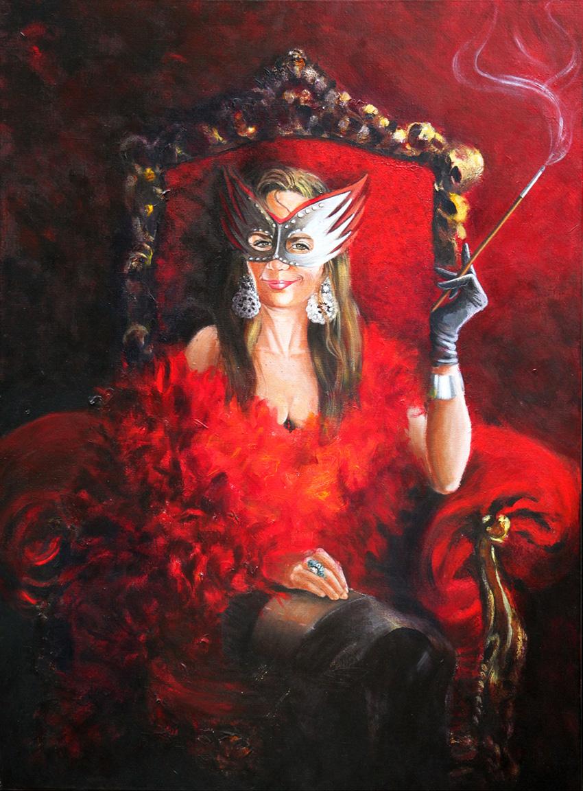 Femme-boa-rouge