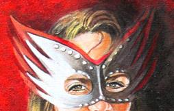 Peinture portrait de femme fatale - gros plan des yeux