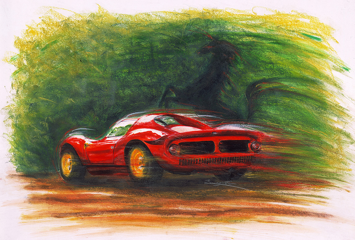 ferrari - illustrations Encre et pastels secs - Dominique Evangelisti