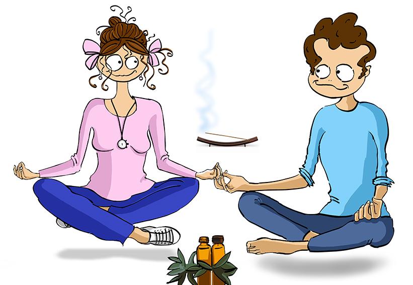 Illustration de personnage - Séance de Yoga en couple