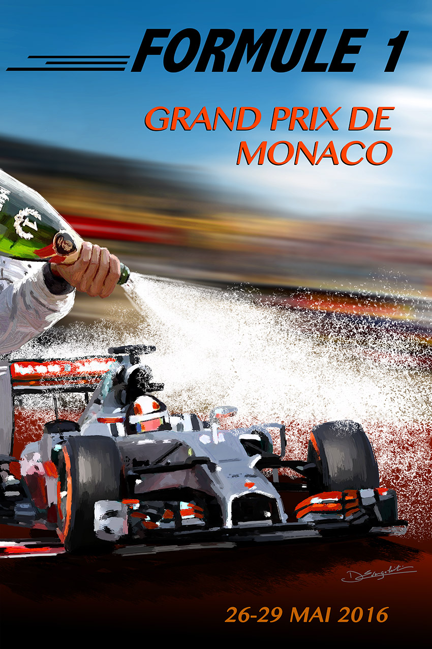 Affiche Grand Prix de Monaco - Peinture numérique Dominique Evangelisti