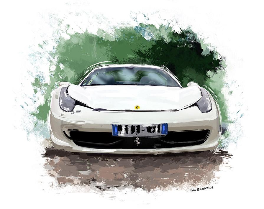 Ferrari Blanche - Peinture numérique Dominique Evangelisti