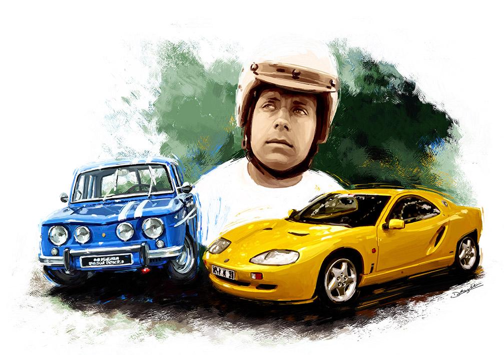 Michel Hommell avec sa Renault 8 Gordini et sa Berlinette - Peinture numérique Dominique Evangelisti