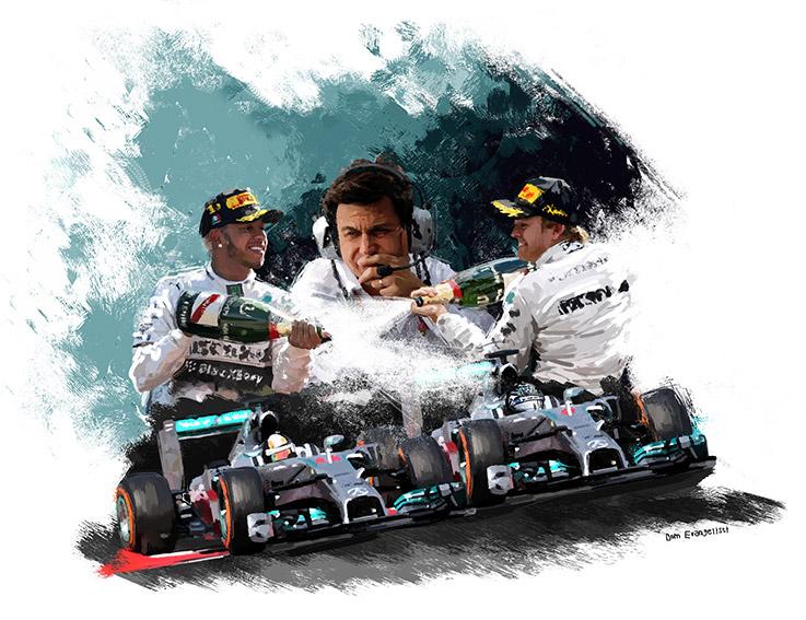 Lewis Hamilton-Nico Rosberg-Toto Wolff chez Mercedes - Peinture numérique Dominique Evangelisti