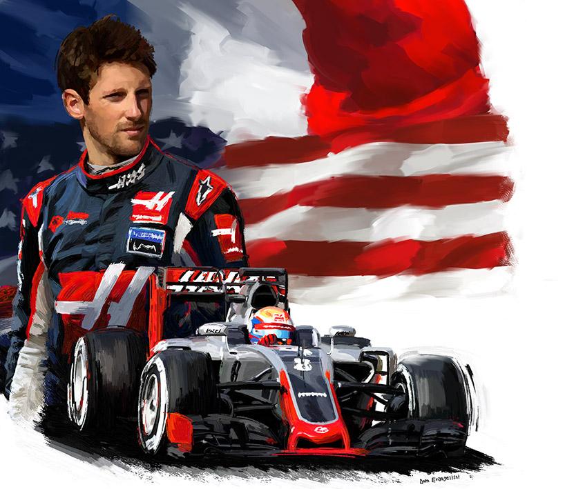 Romain Grosjean Portrait - Peinture numérique Dominique Evangelisti