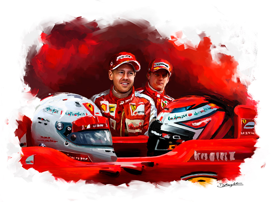 Sebastian Vettel et Kimi Räikkönen chez Ferrari - Peinture numérique Dominique Evangelisti