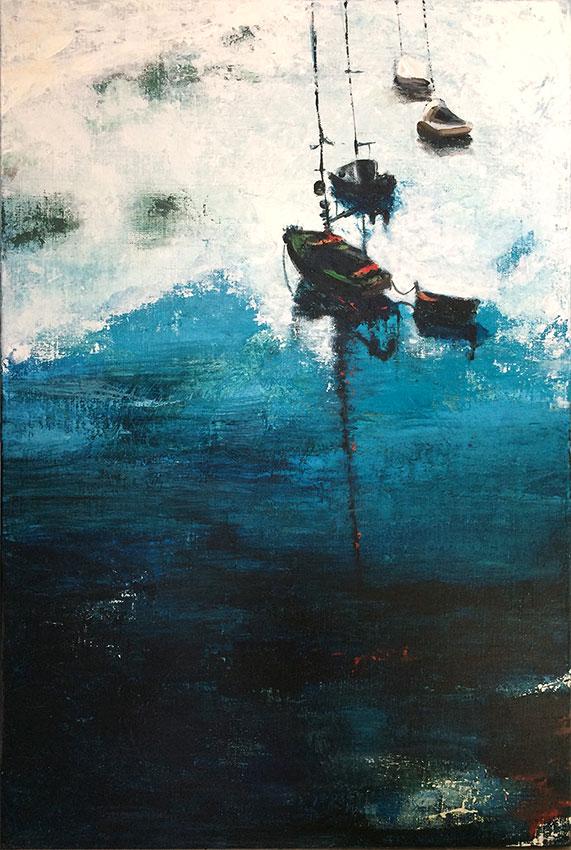 peintures-divers - Bateaux sur mer bleue calme