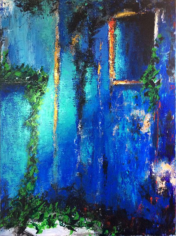 peintures-divers-Végétation poussant sur un mur bleu de maison abandonnée -