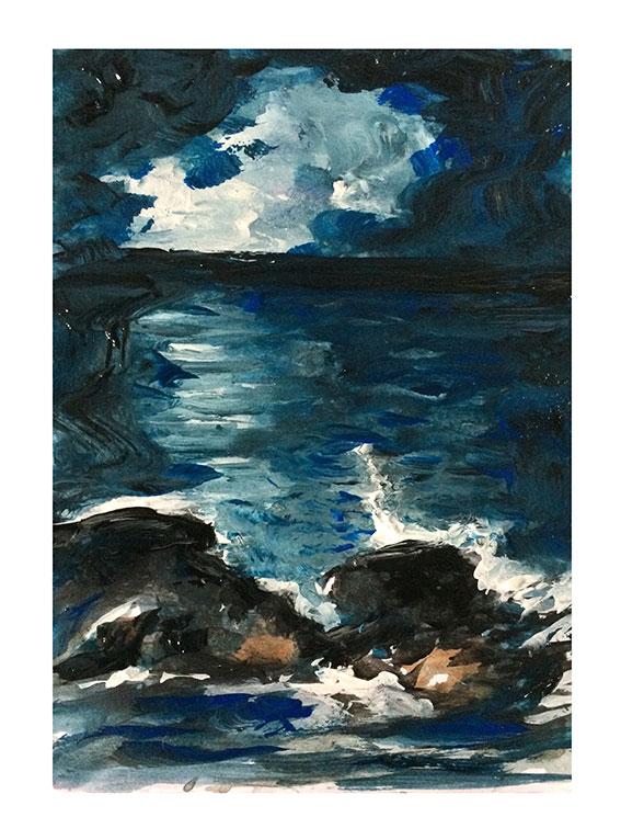 peintures-divers - Rochers dans l'eau la nuit
