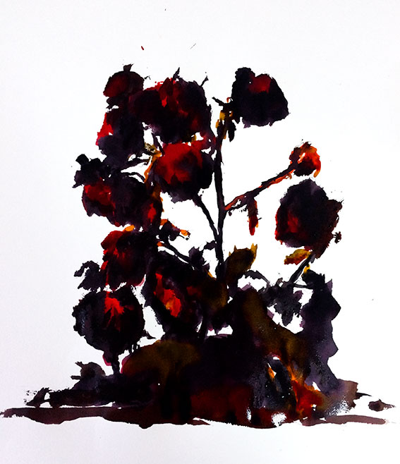 peintures-divers - Bouquet de roses fanées