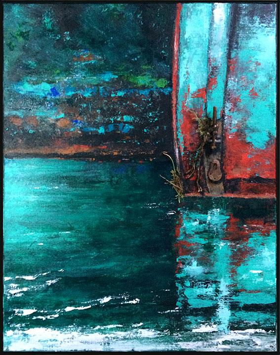 peintures-divers-Épaves rouillées sur l'eau