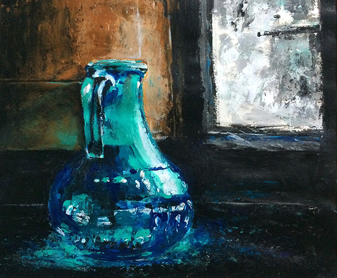 peintures-divers-Carafe en verre couleur bleue devant une fenêtre - Acrylique